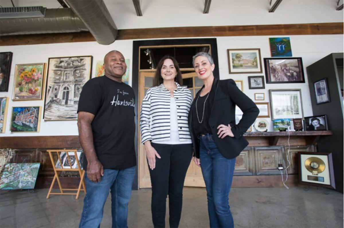 William Hampton, Sara Beth Fair and Carole Forêt at the H. C. Blake Art & History Center.